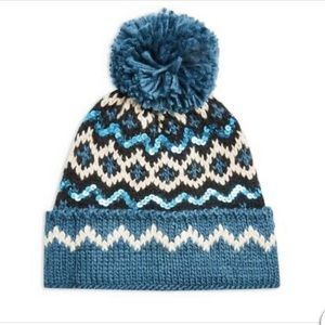 Topshop Blue Sequin Pom Pom Fair isle Beanie Hat